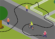 Graphic of person running down a street; a dotted line shows his winding path around several people